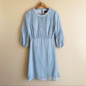 Roolee Mom Dress Cottagecore Swiss Dot Dusty Blue
